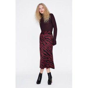 Zara Midi Skirt Animal Print Tiger Stripe Maroon S